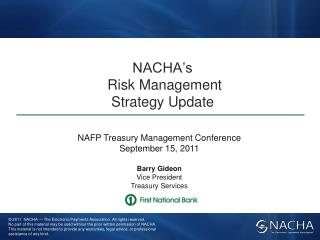 NACHA's  Risk Management  Strategy Update