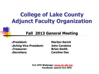 College of Lake County Adjunct Faculty Organization