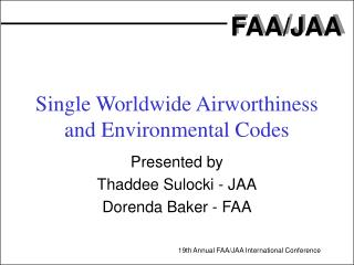 single worldwide airworthiness and environmental codes