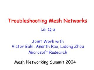 troubleshooting mesh networks