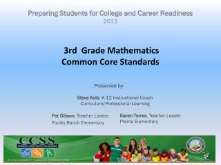 3rd  Grade Mathematics Common Core Standards
