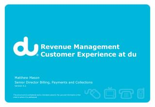 Revenue Management Customer Experience at du