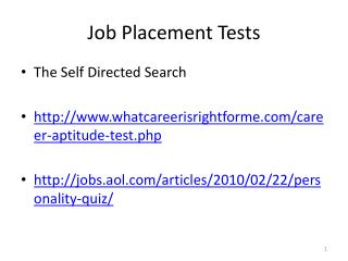 Job Placement Tests