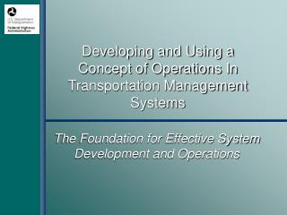 developing and using a concept of operations in transportation management systems