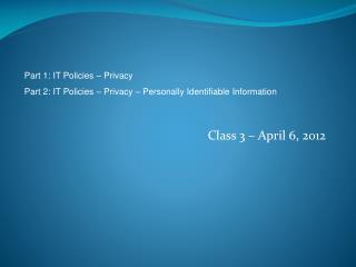 Class 3 – April 6, 2012