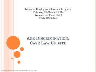 Age Discrimination:  Case Law Update