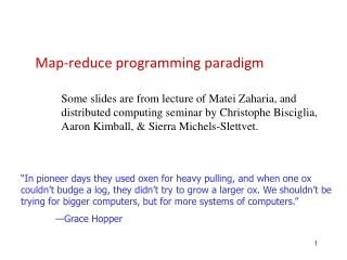 Map-reduce programming paradigm
