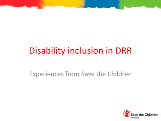 Disability inclusion in DRR