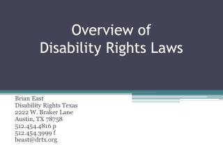 Overview of  Disability Rights Laws