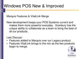 Windows POS New & Improved