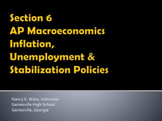 Section 6 AP Macroeconomics Inflation, Unemployment & Stabilization Policies
