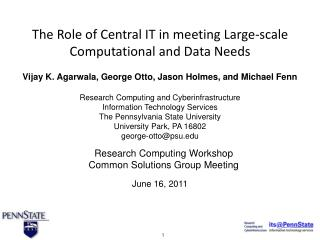 Research  Computing Workshop Common Solutions Group Meeting