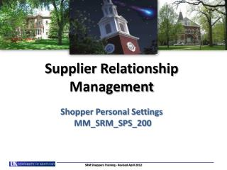 Supplier Relationship Management Shopper Personal Settings  MM_SRM_SPS_200