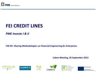 FEI CREDIT LINES PME Investe  I & II FIN-EN -Sharing Methodologies on Financial Engineering for Enterprises