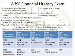 W!SE Financial Literacy Exam