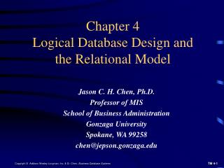 Chapter 4 Logical Database Design and the Relational Model