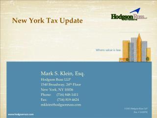New York Tax Update