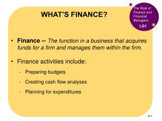 WHAT�S FINANCE?