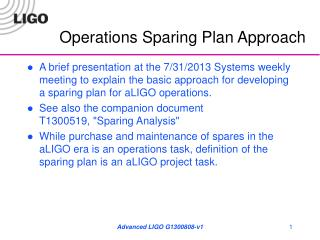 Operations Sparing Plan Approach