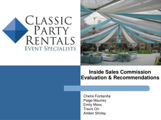 Inside Sales Commission  Evaluation & Recommendations