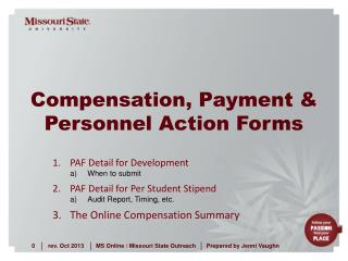 Compensation, Payment &  Personnel Action Forms