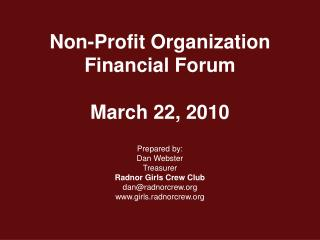 Non-Profit Organization Financial Forum March 22, 2010