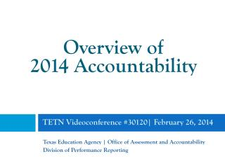 TETN Videoconference #30120 | February 26, 2014