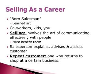 Selling As a Career