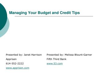 Managing Your Budget and Credit Tips