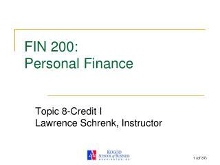 FIN 200:  Personal Finance