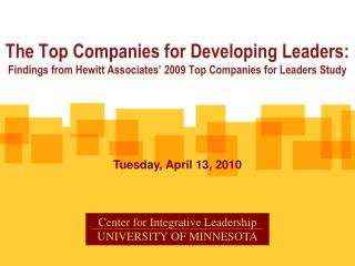 The Top Companies for Developing Leaders: Findings from Hewitt Associates' 2009 Top Companies for Leaders Study
