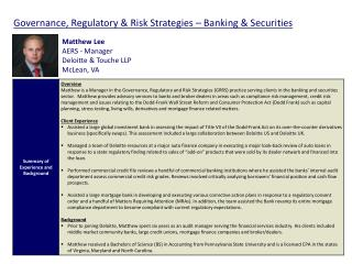 Governance,  Regulatory  &  Risk Strategies – Banking & Securities