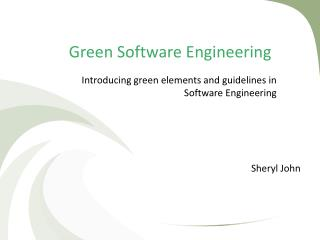 Green Software Engineering
