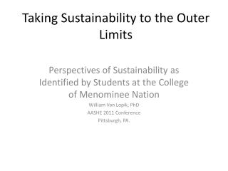 Taking Sustainability to the Outer Limits