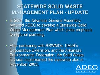 STATEWIDE SOLID WASTE MANAGEMENT PLAN - UPDATE