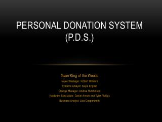 Personal Donation System (P.D.S.)