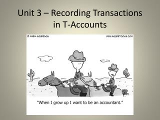 Unit 3 � Recording Transactions in T-Accounts