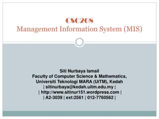 CSC208 Management Information System (MIS)