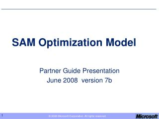 SAM Optimization Model