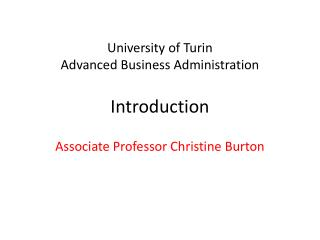 University of Turin Advanced Business Administration Introduction