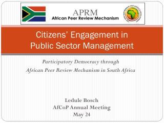 Citizens ' Engagement in  Public  Sector  Management