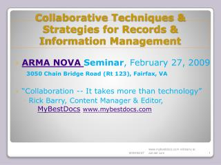 Collaborative Techniques & Strategies for Records & Information Management