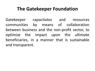 The Gatekeeper Foundation