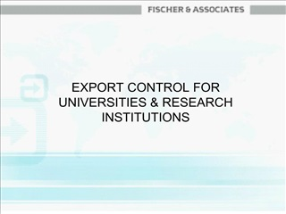 export control for universities  research institutions