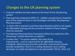 Changes to the UK planning system