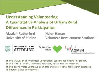 Understanding  Volunteering: A  Quantitative Analysis of Urban/Rural Differences in Participation