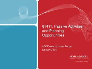§1411, Passive Activities and Planning Opportunities