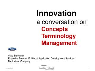 Innovation a conversation on     Concepts    Terminology    Management