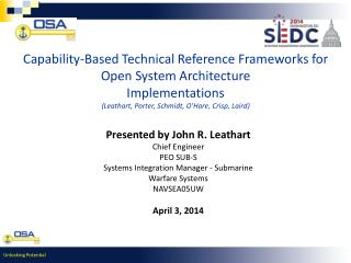 Capability-Based Technical Reference Frameworks for Open System Architecture Implementations ( Leathart , Porter, Schmi