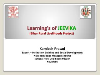 Learning's of  JEEV i KA (Bihar Rural Livelihoods Project)